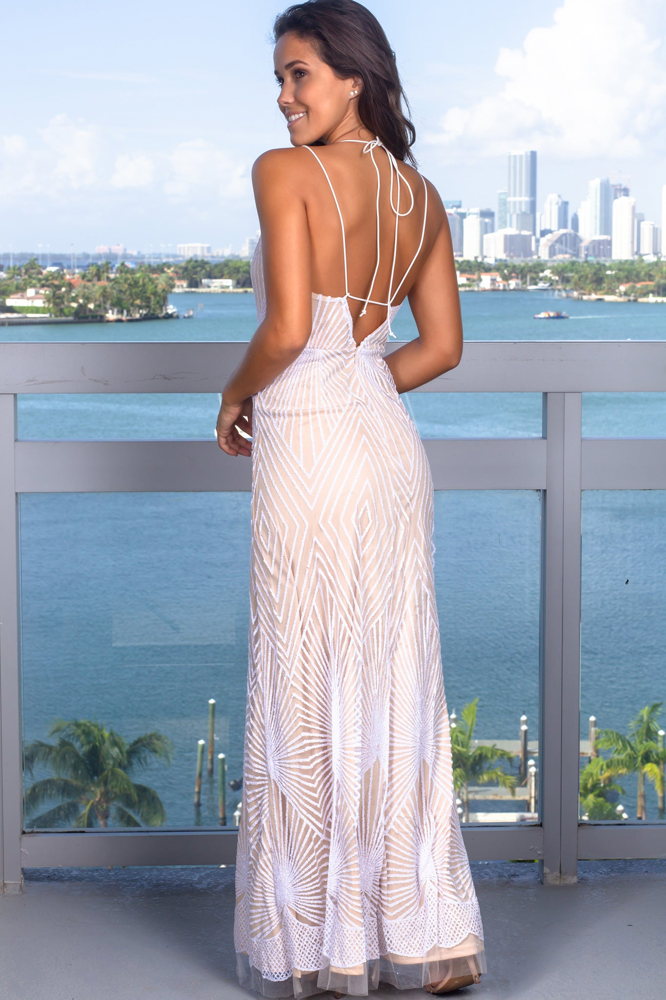 White and Nude Glitter Maxi Dress