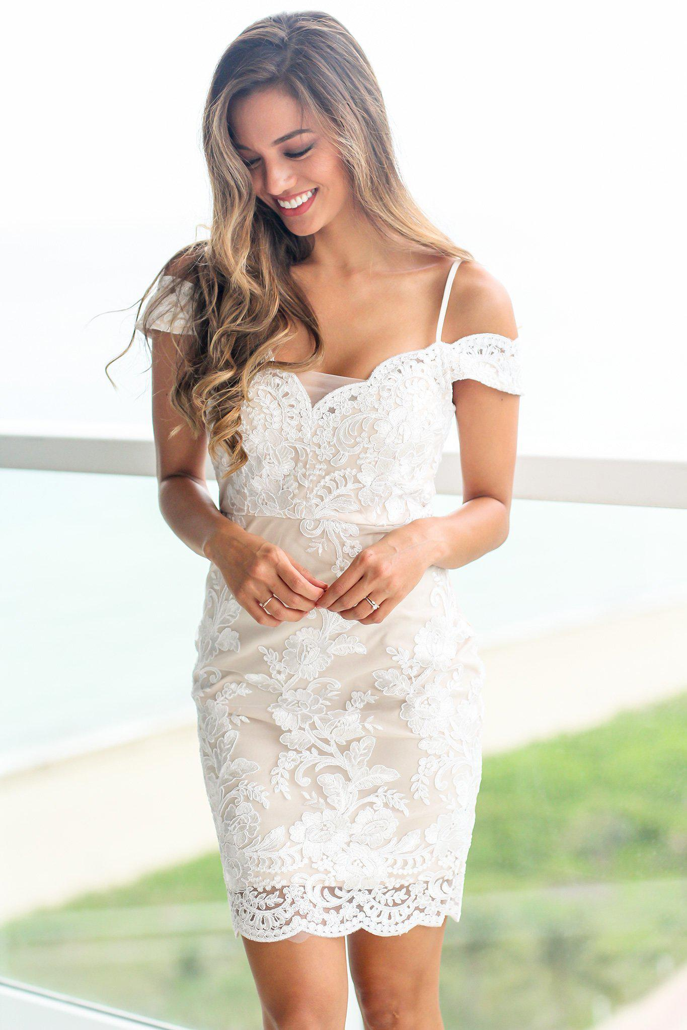 White and Nude Off Shoulder Embroidered Short Dress