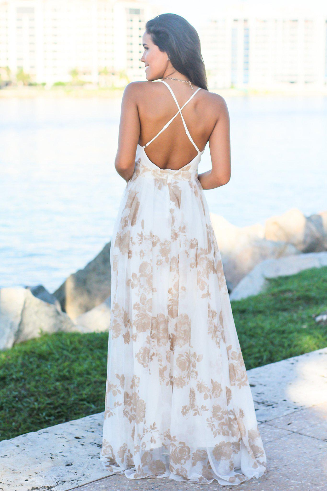 White and Nude Printed Tulle Maxi Dress with Criss Cross Back