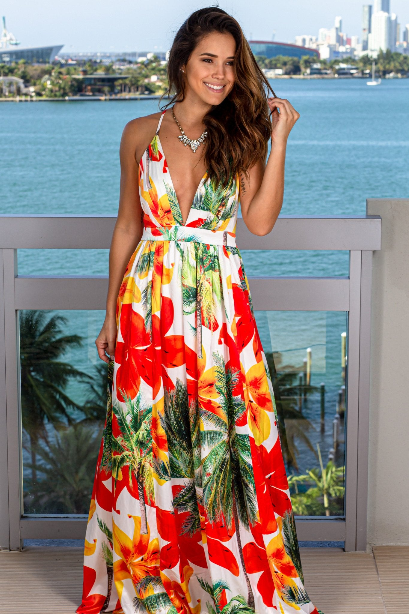 White and Orange Tropical Maxi Dress