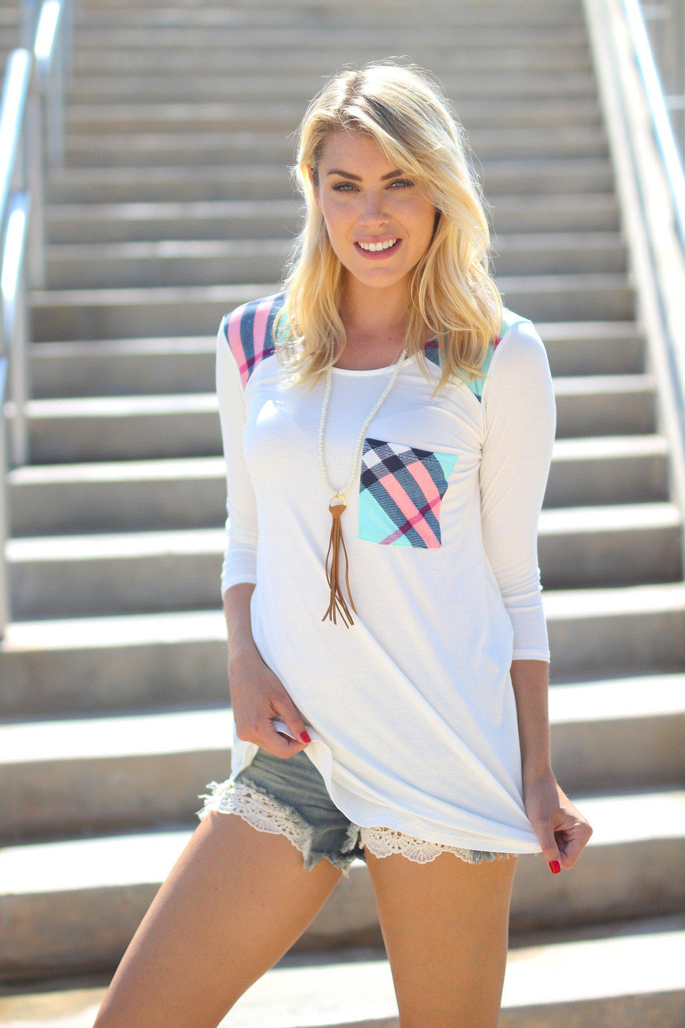 White and Plaid Top with Pocket
