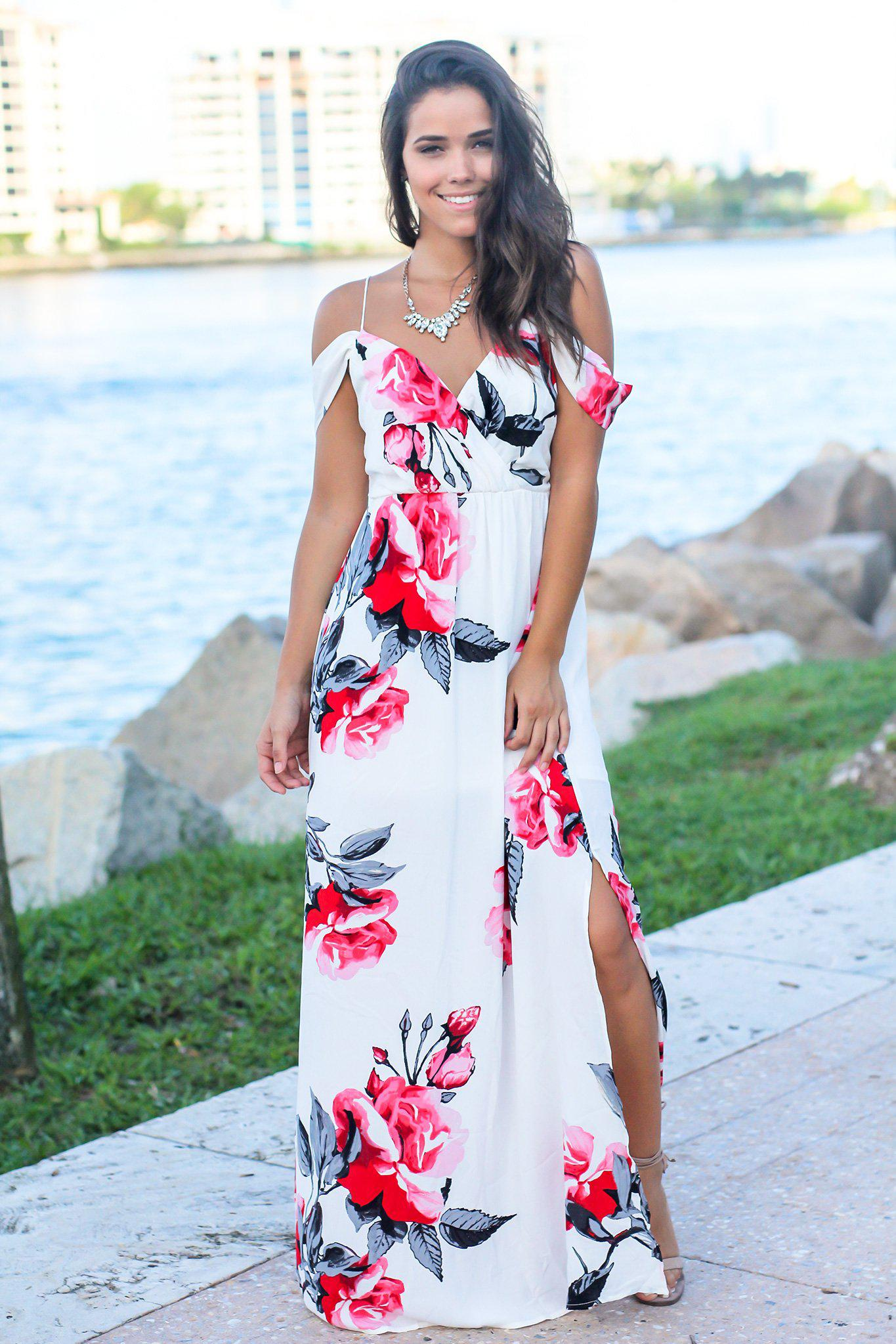 White and Red Floral Maxi Dress