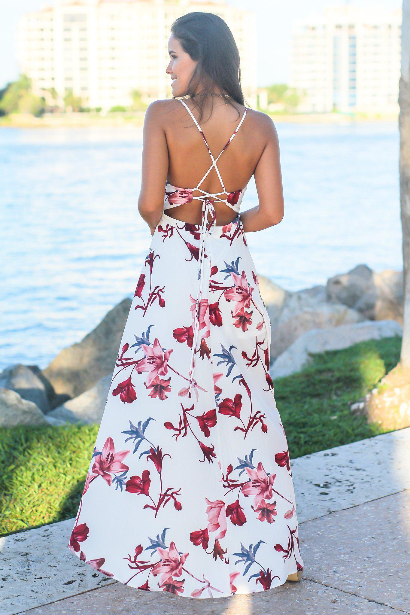 White and Wine V-Neck Floral High Low Dress
