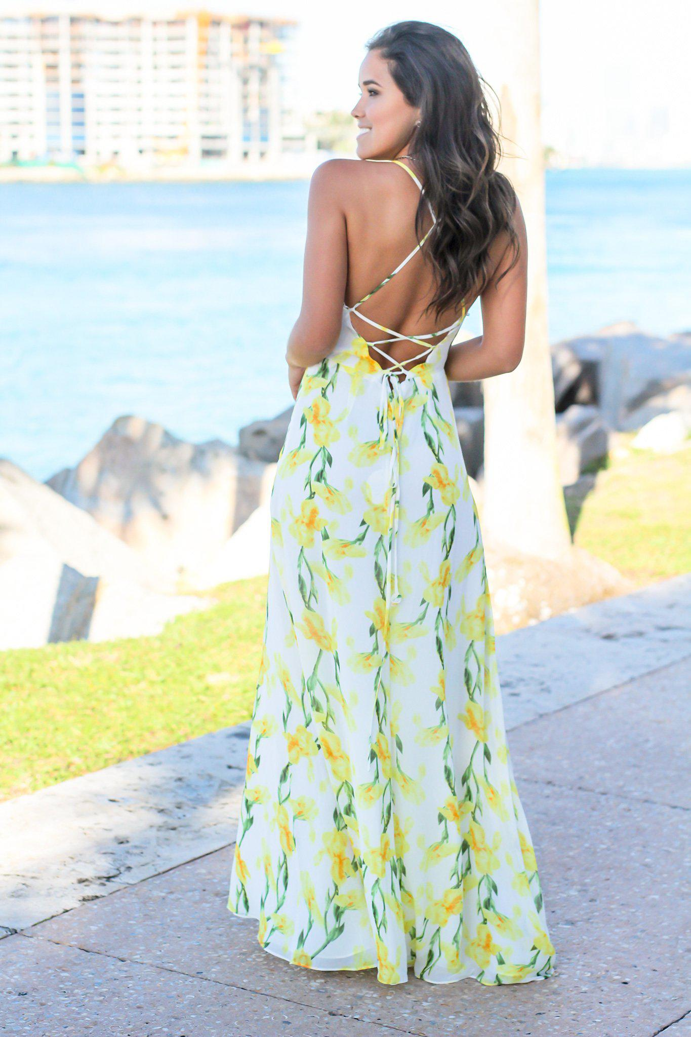 White and Yellow Floral Maxi Dress with Lace Up Back