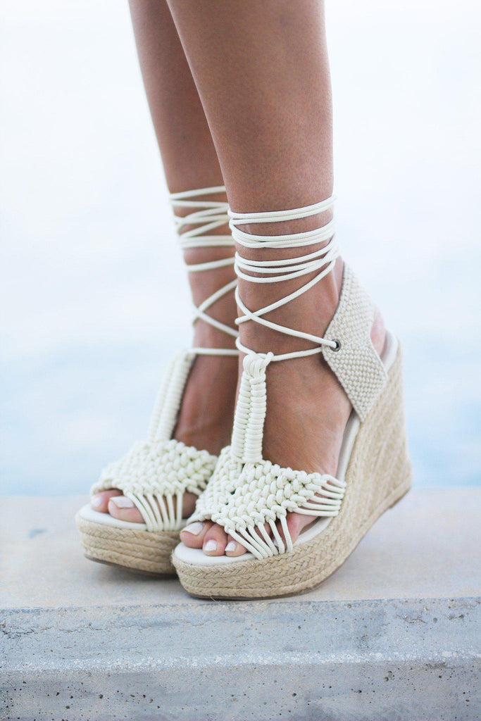 off white summer wedges
