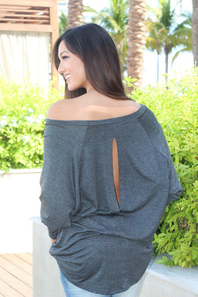 gray off shoulder top