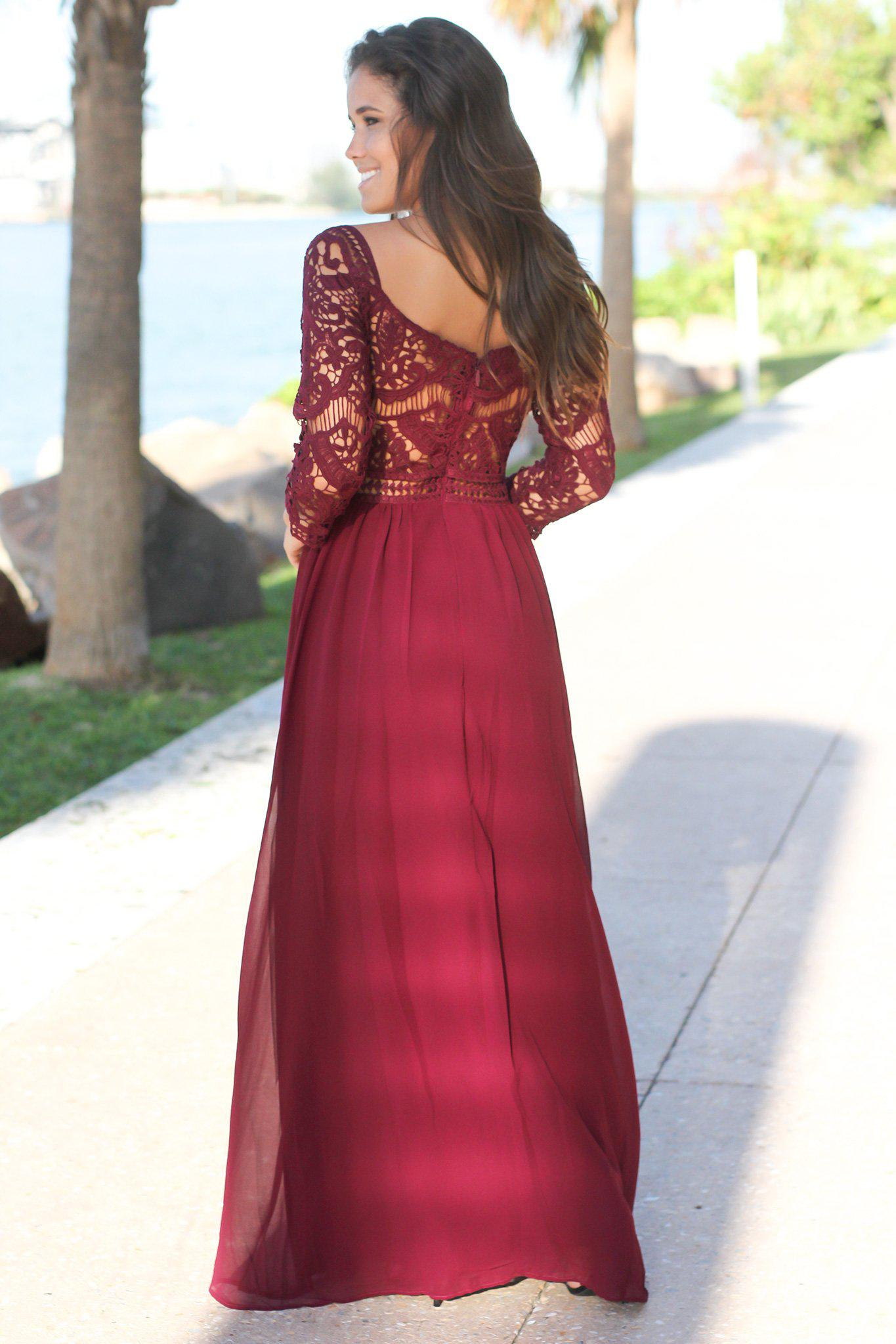 Wine Crochet Maxi Dress with 3/4 Sleeves