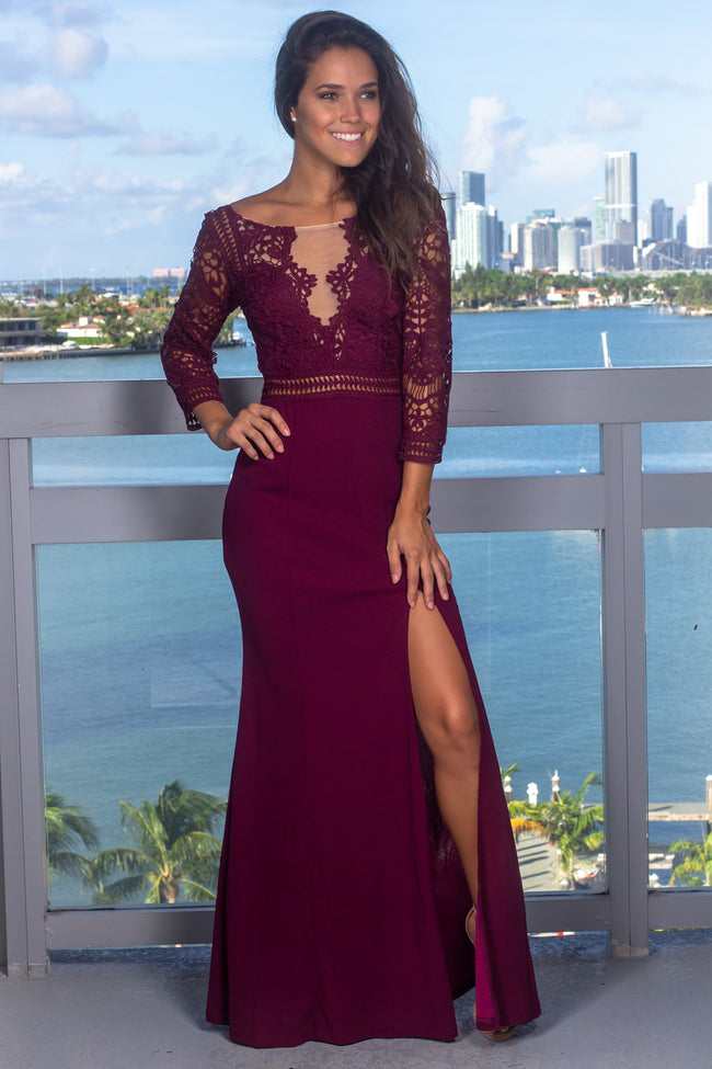 Wine Crochet Top Maxi Dress with 3/4 Sleeves and Side Slit