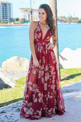 Wine Printed Tulle Maxi Dress with Criss Cross Back