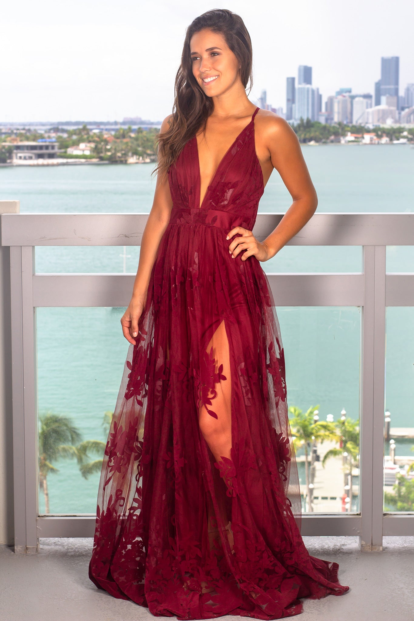 Wine Floral Tulle Maxi Dress with Criss Cross Back