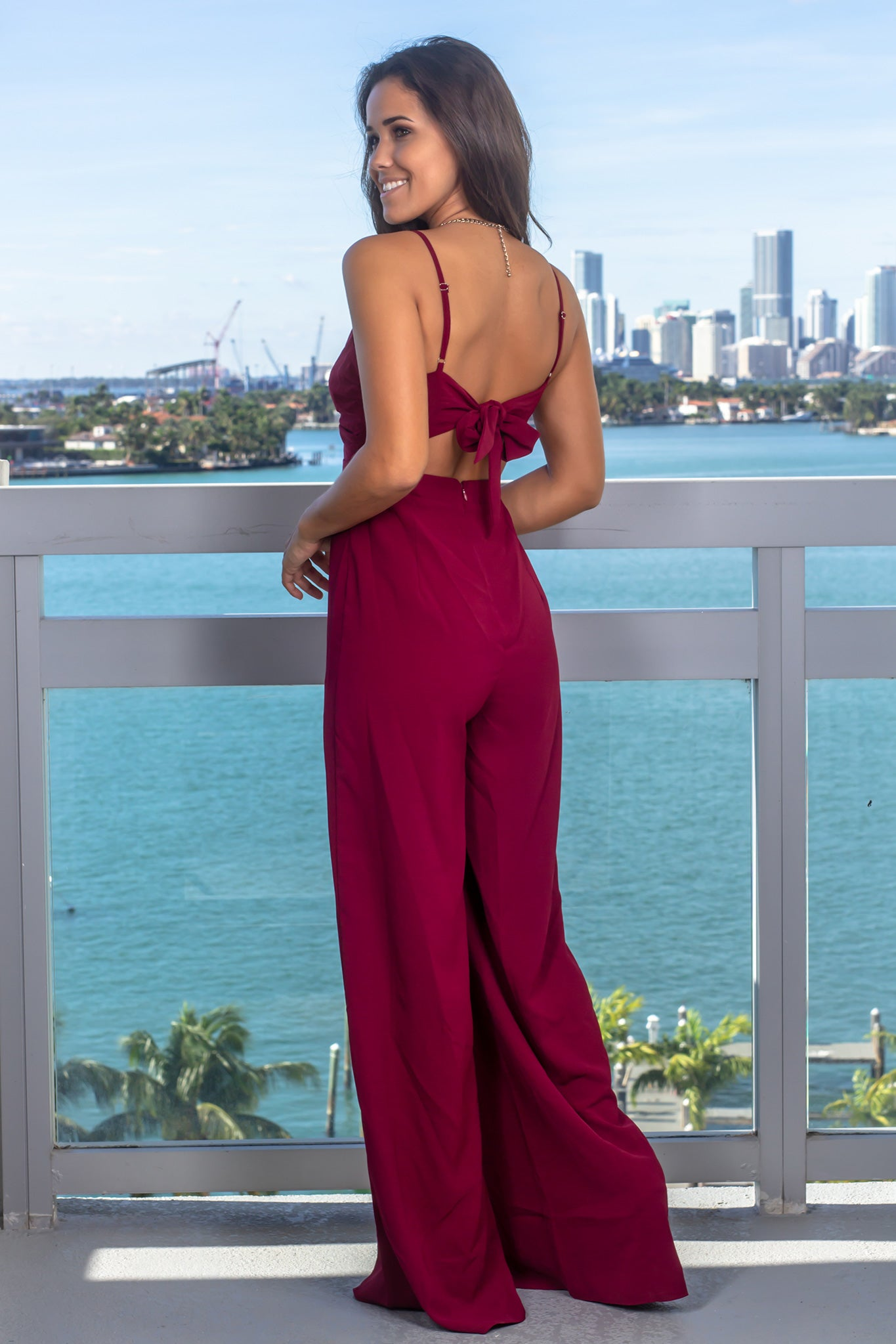 Wine Front Twist Jumpsuit
