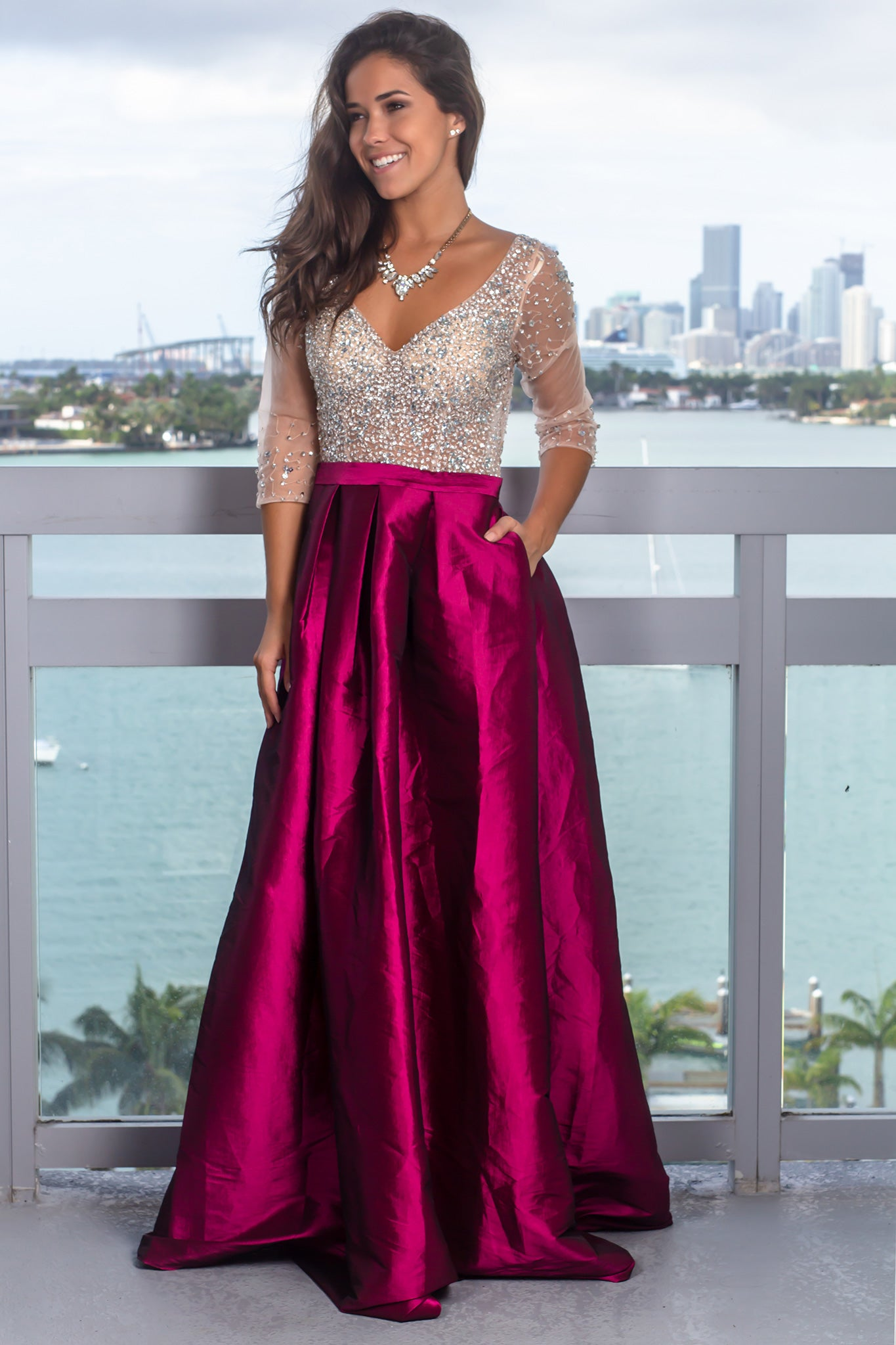 Wine Jeweled Top Maxi Dress with Pockets