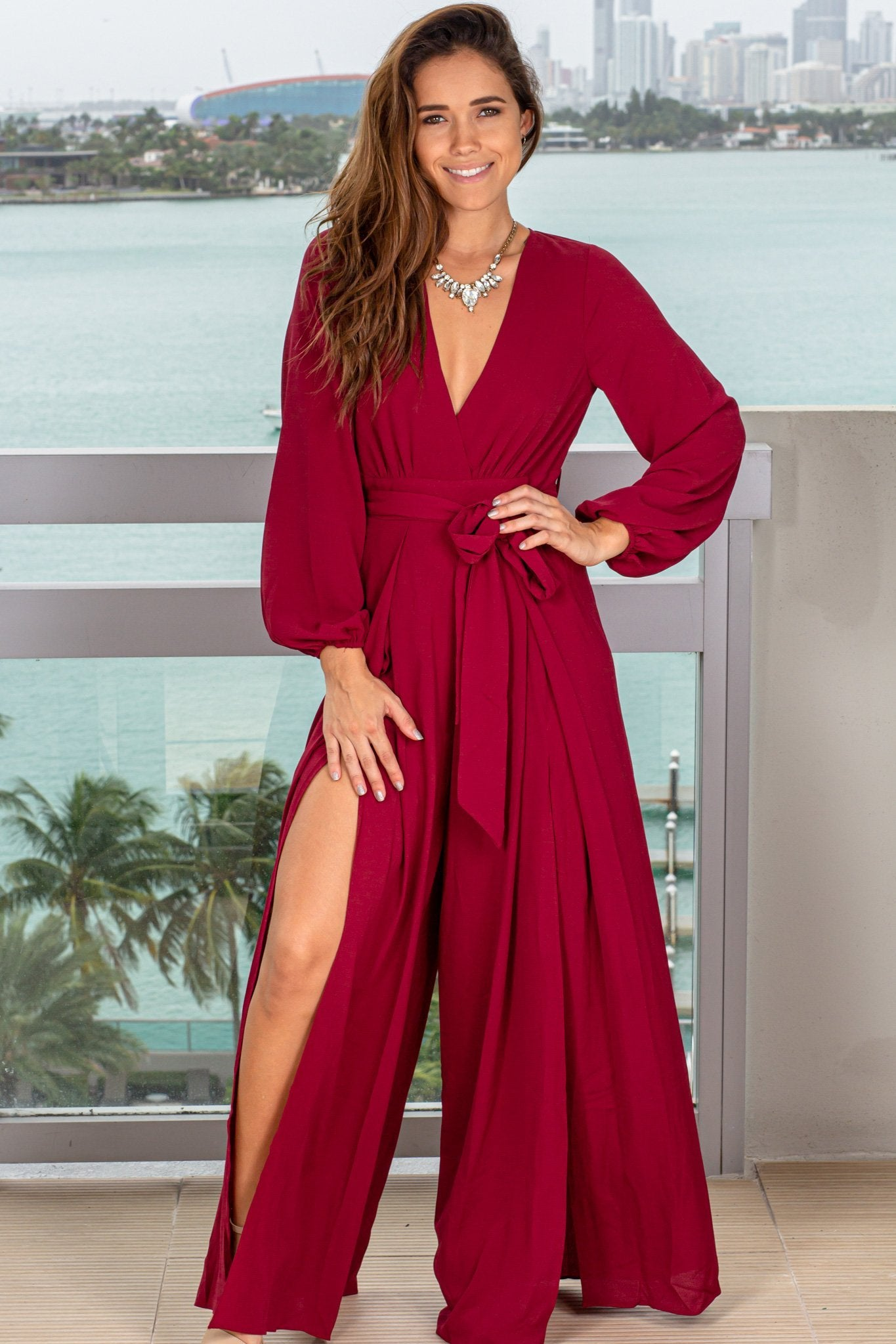 Wine Jumpsuit with Slit