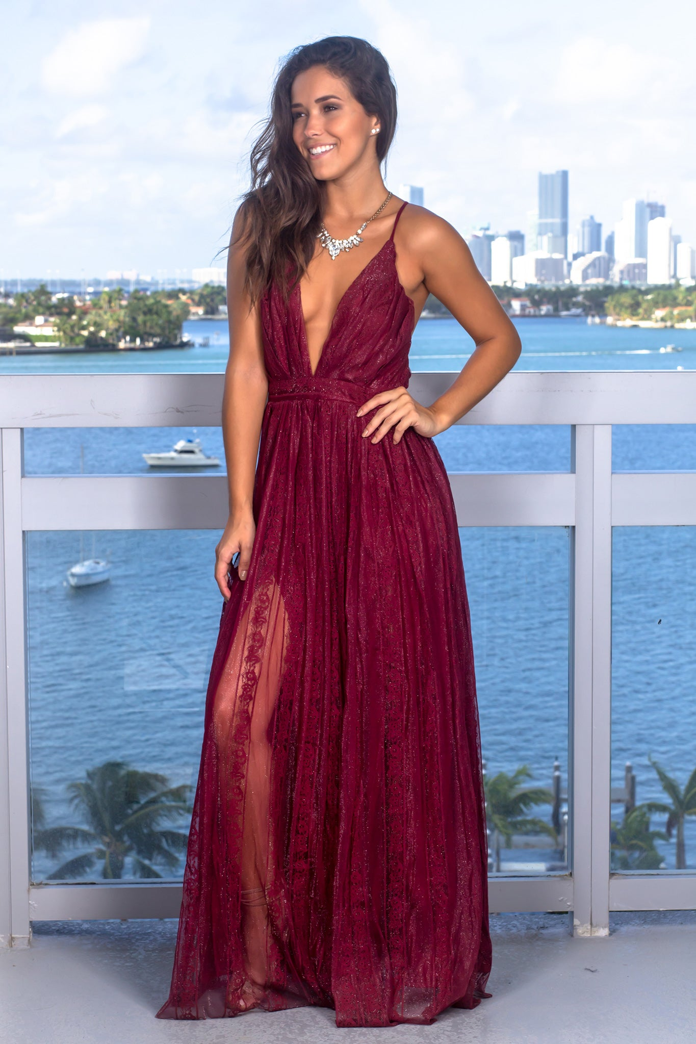 Wine Lace Maxi Dress with Criss Cross Back