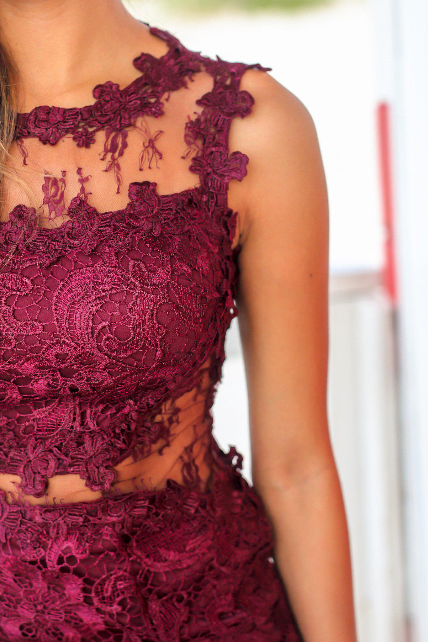 Wine Lace Short Dress