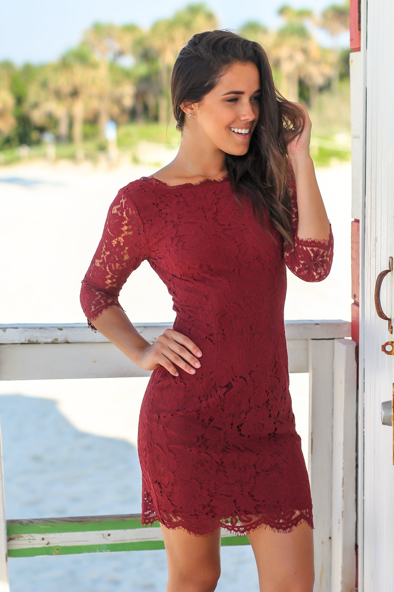 Wine Lace Short Dress with 3/4 Sleeves