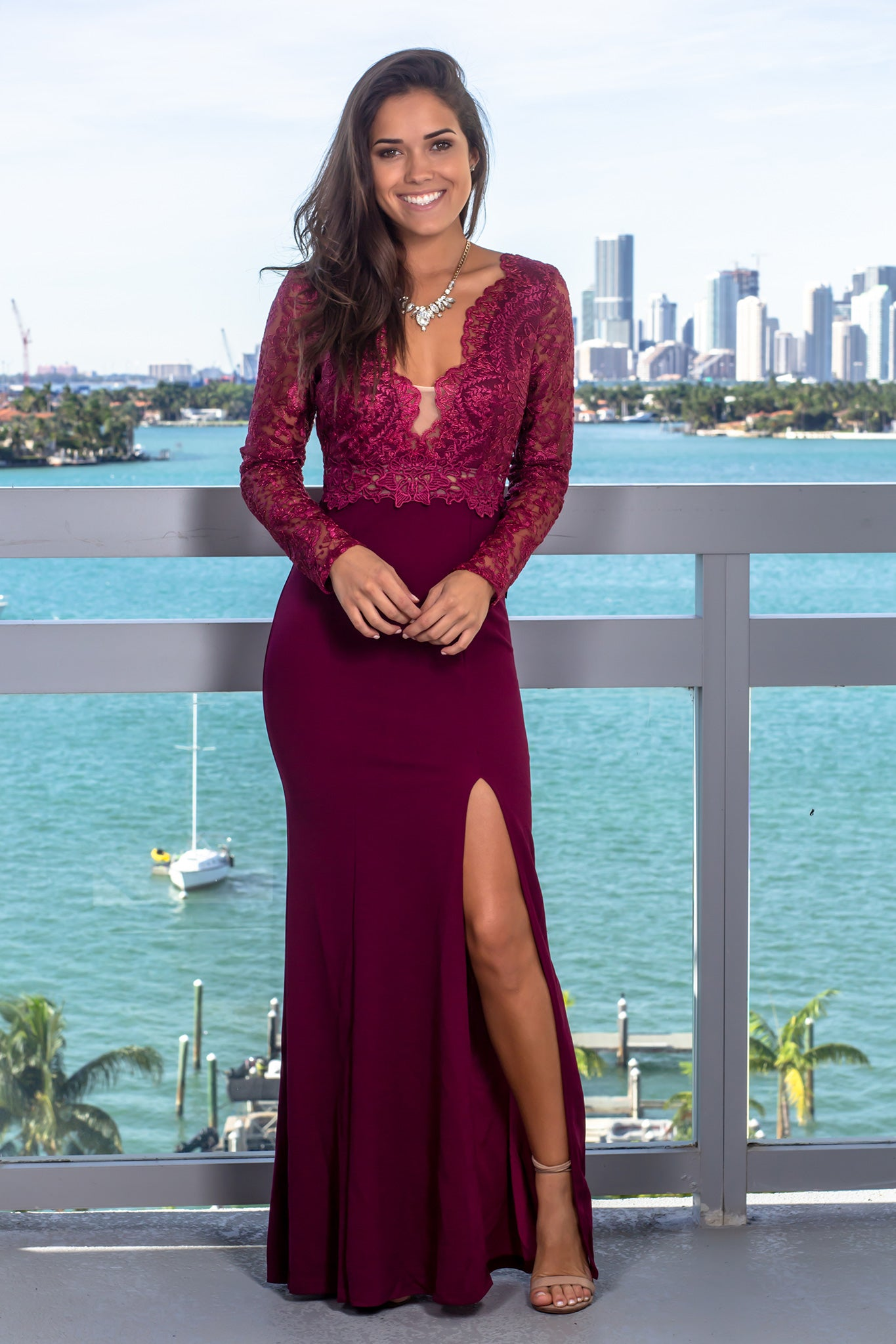 Wine Long Sleeve Maxi Dress