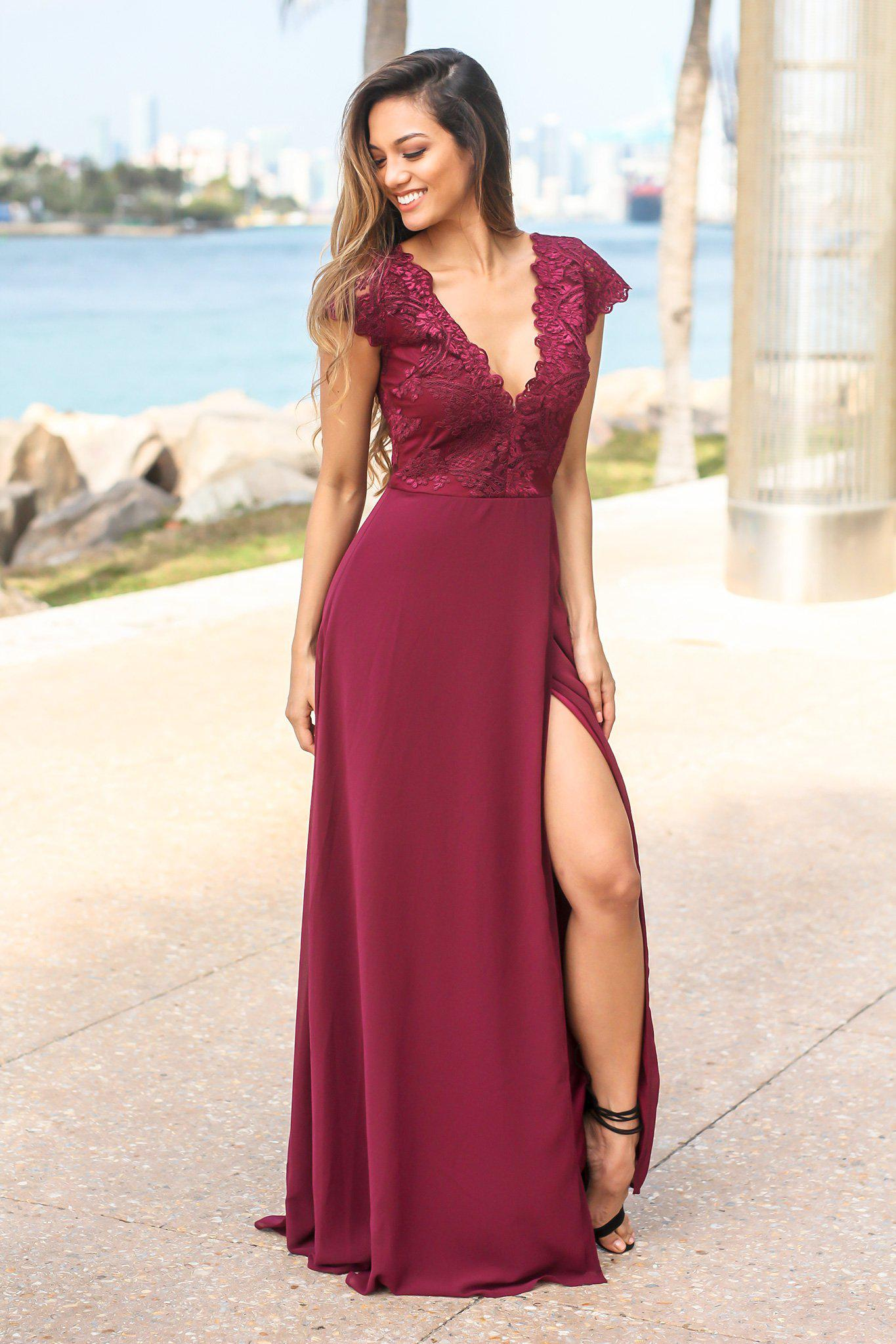 Wine Maxi Dress with Embroidered Top and Slit