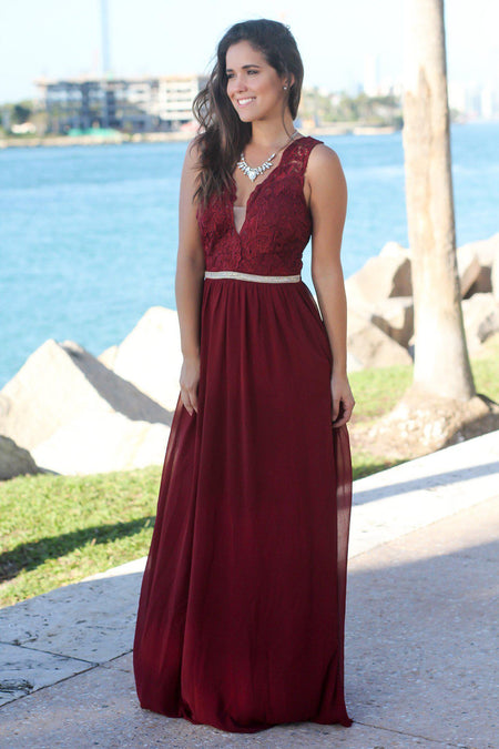 Wine Maxi Dress with Gold Waist Detail