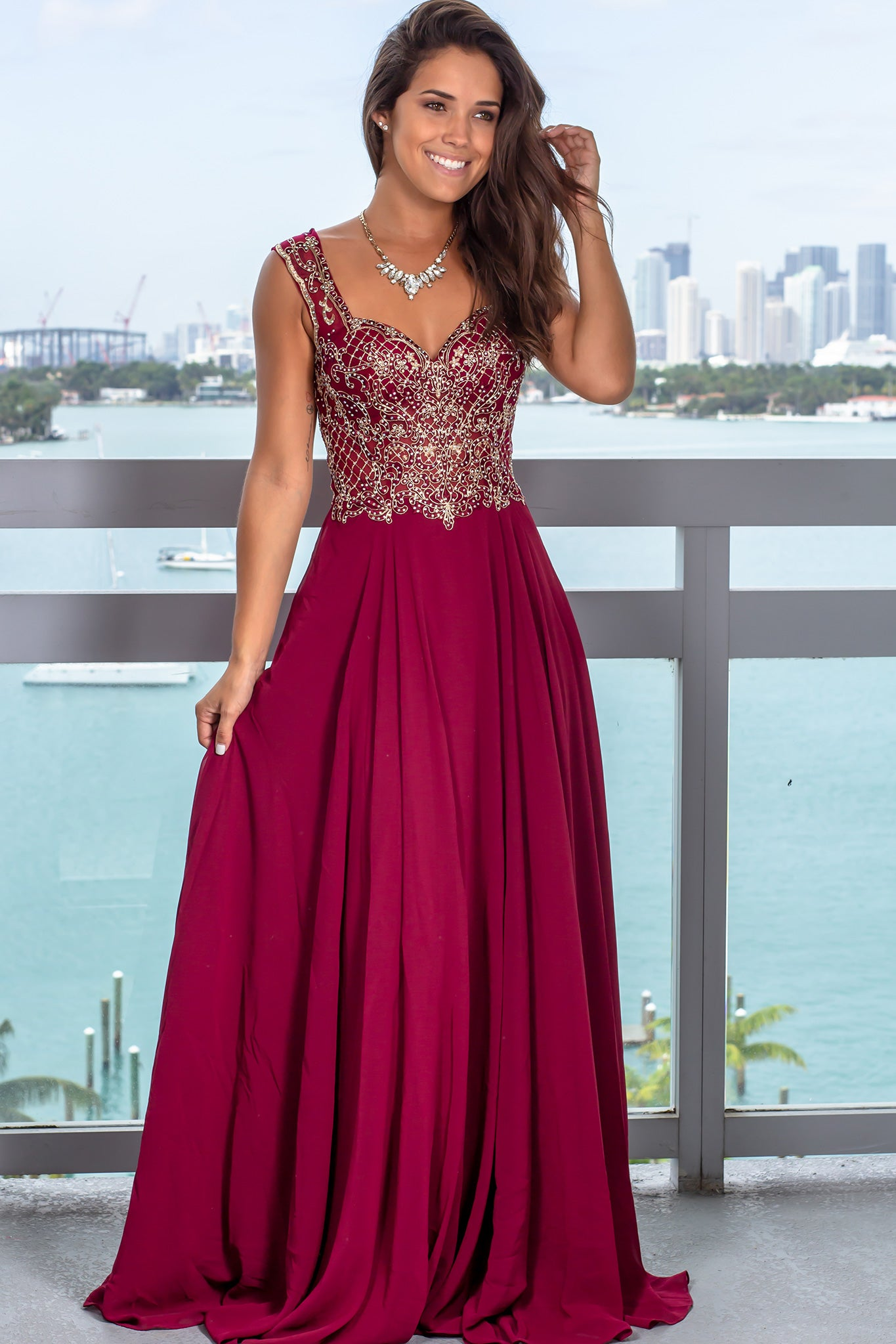 Wine Maxi Dress with Jewel Embroidered Top