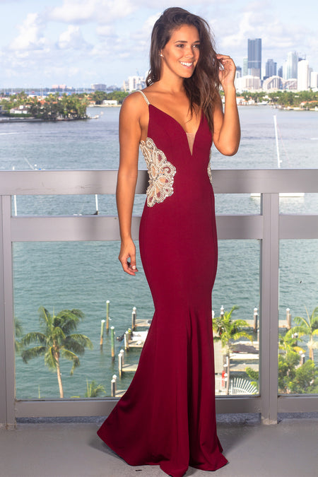 Wine Maxi Dress with Jeweled Detail