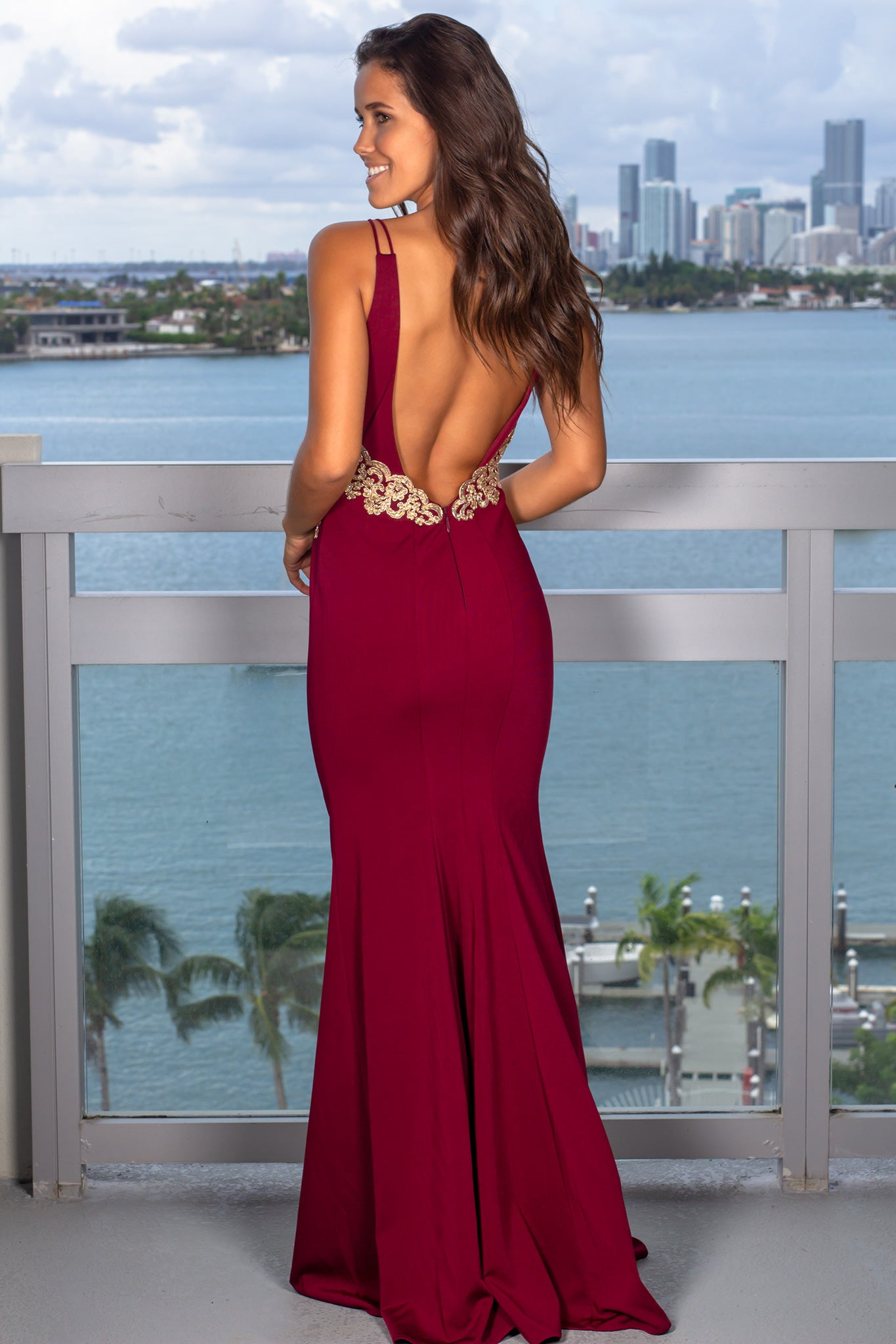 Wine Maxi Dress with Jeweled Top