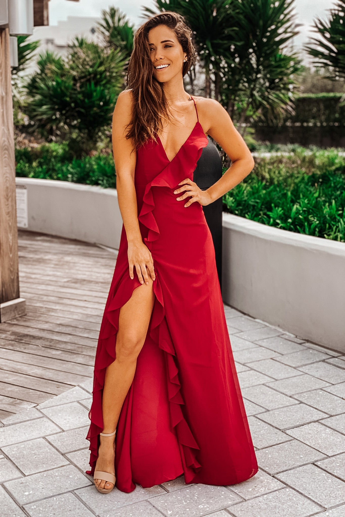 Wine Maxi Dress with Ruffle Detail