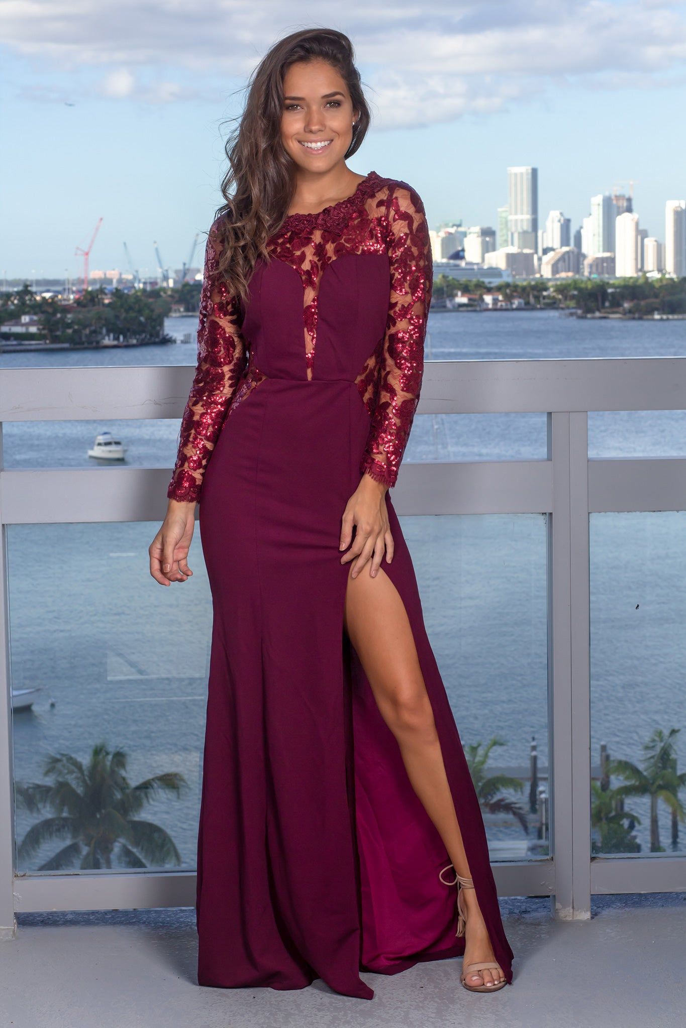 Wine Maxi Dress with Sequin Sleeves