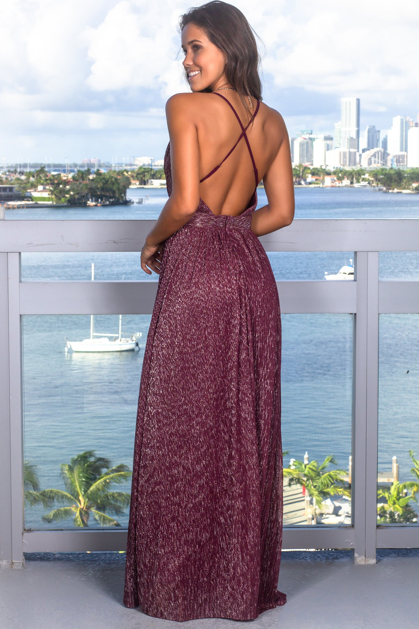 Wine Maxi Dress with Shimmer Detail