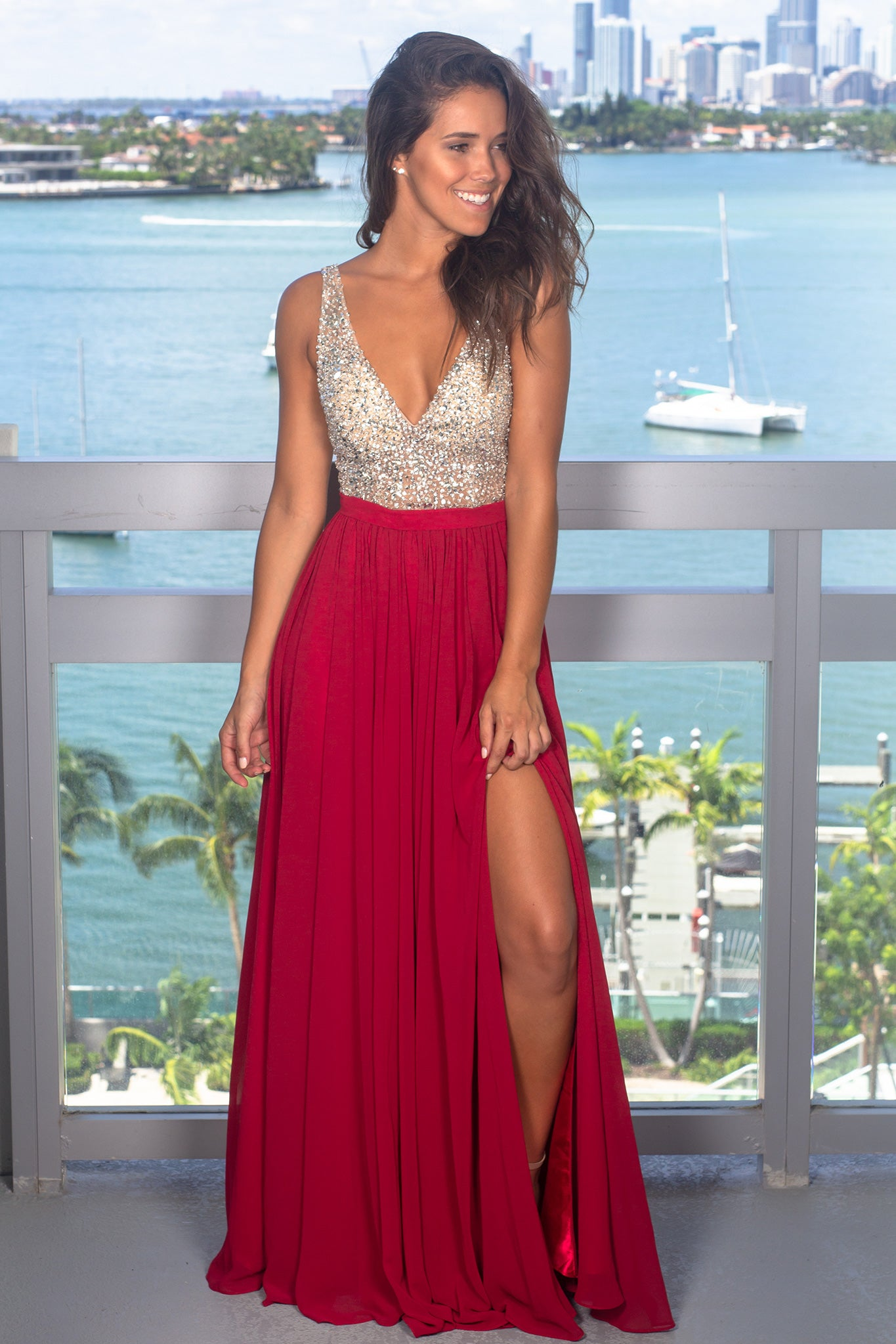 Wine Maxi Dress with Silver Jewels