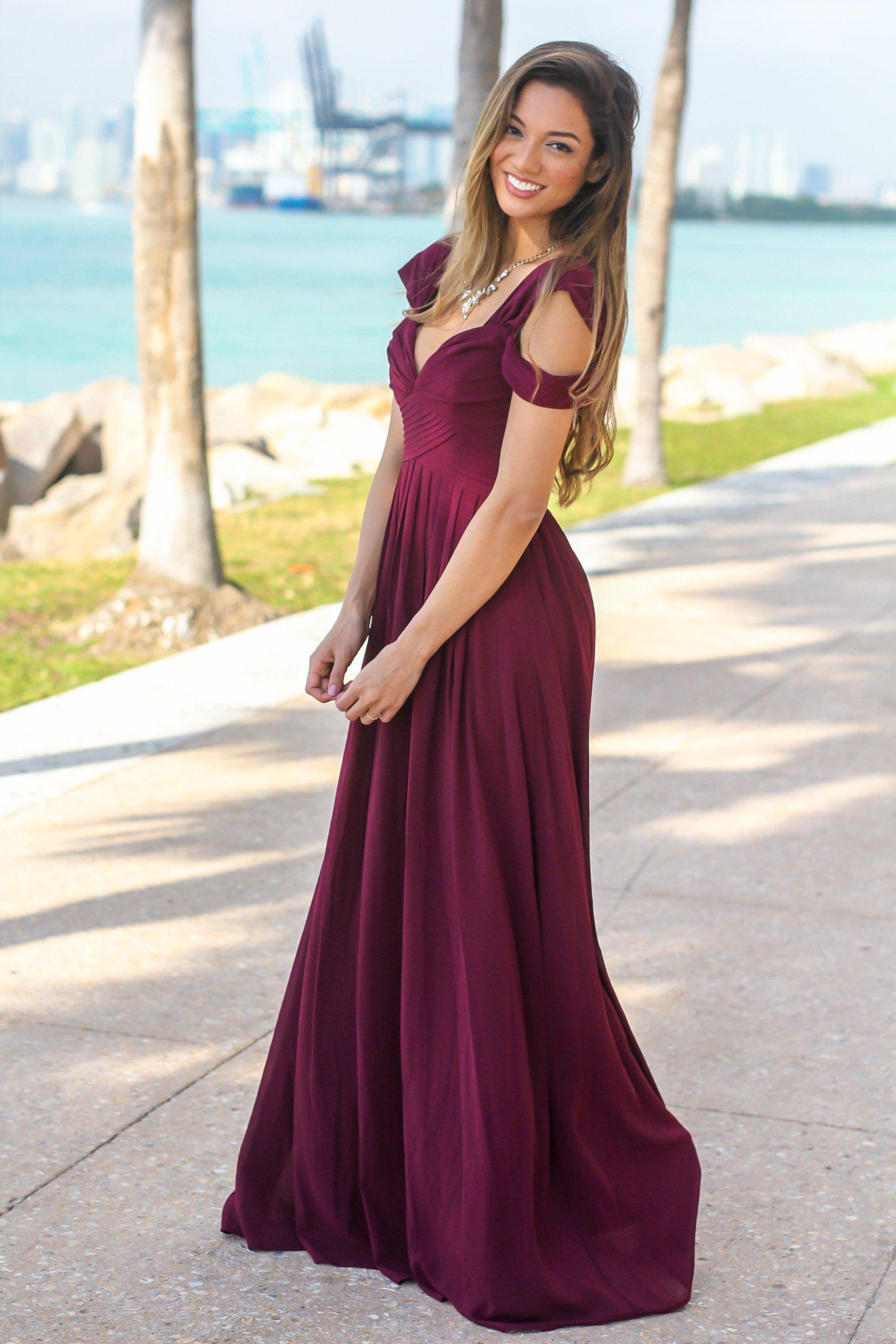 Wine Off Shoulder Maxi Dress