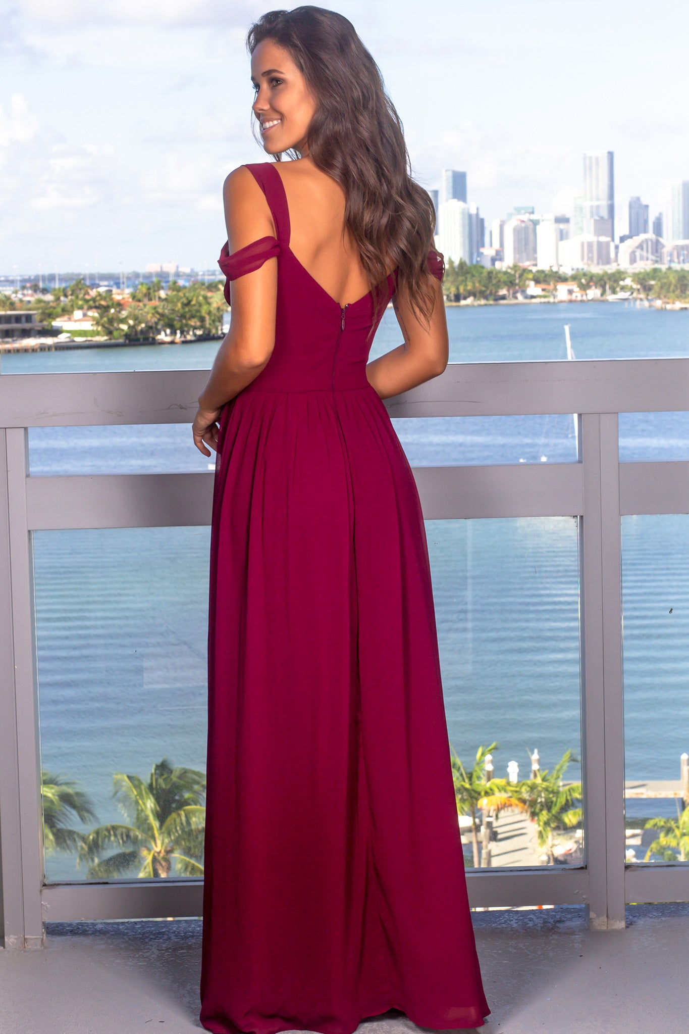 Wine Off Shoulder Maxi Dress with Pleated Top