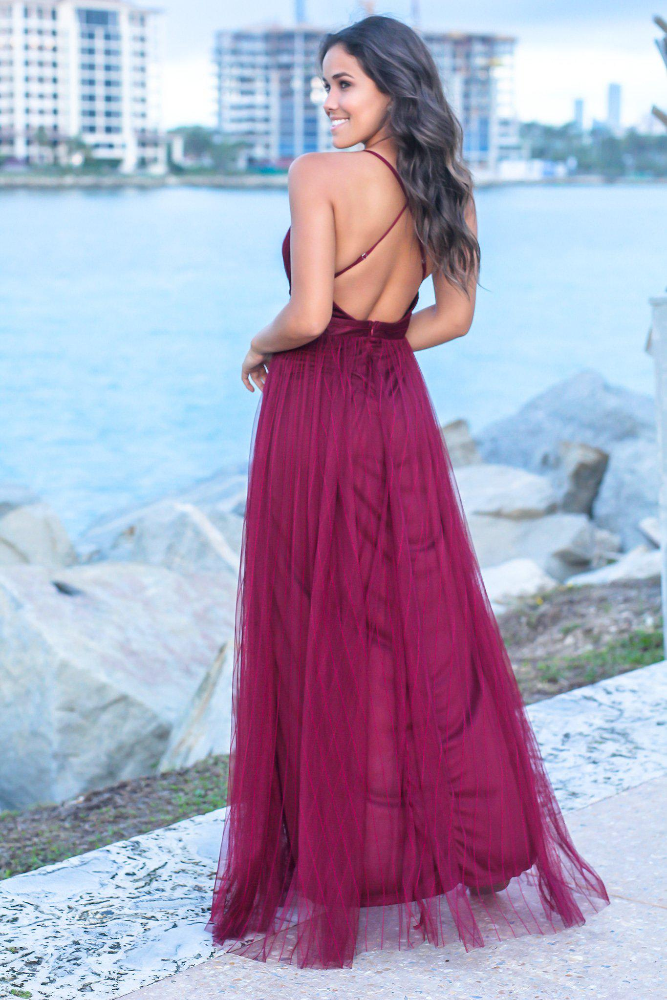 Wine Pinstripe Tulle Maxi Dress with Criss Cross Back