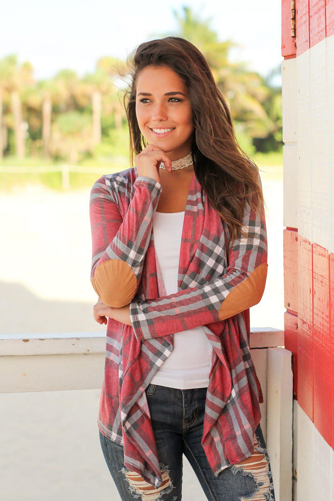Wine Plaid Cardigan with Elbow Patches