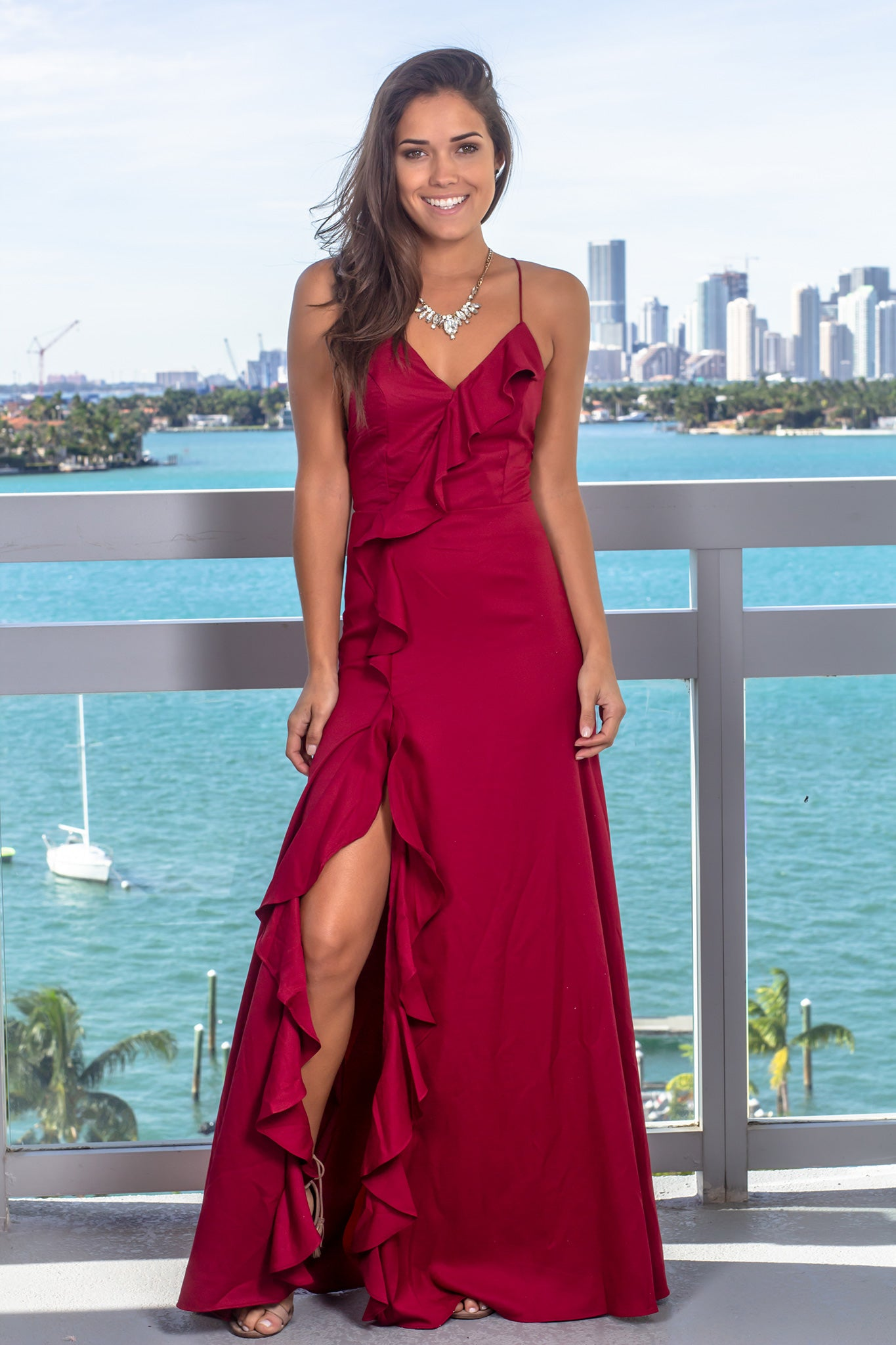 Wine Ruffled Maxi Dress with Lace Up Back