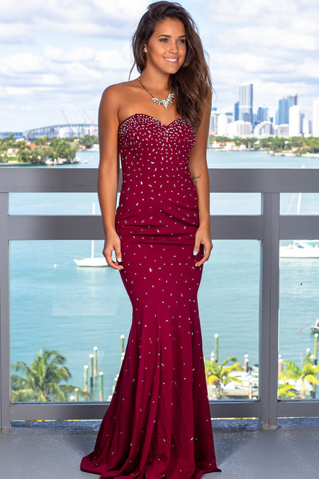 Wine Sequin Strapless Maxi Dress