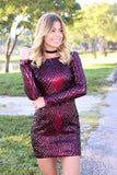 wine sequined short dress with long sleeves