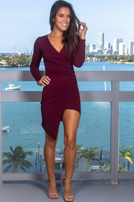 Wine Short Dress with Long Sleeves