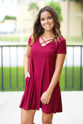 Wine Short Dress with Pockets