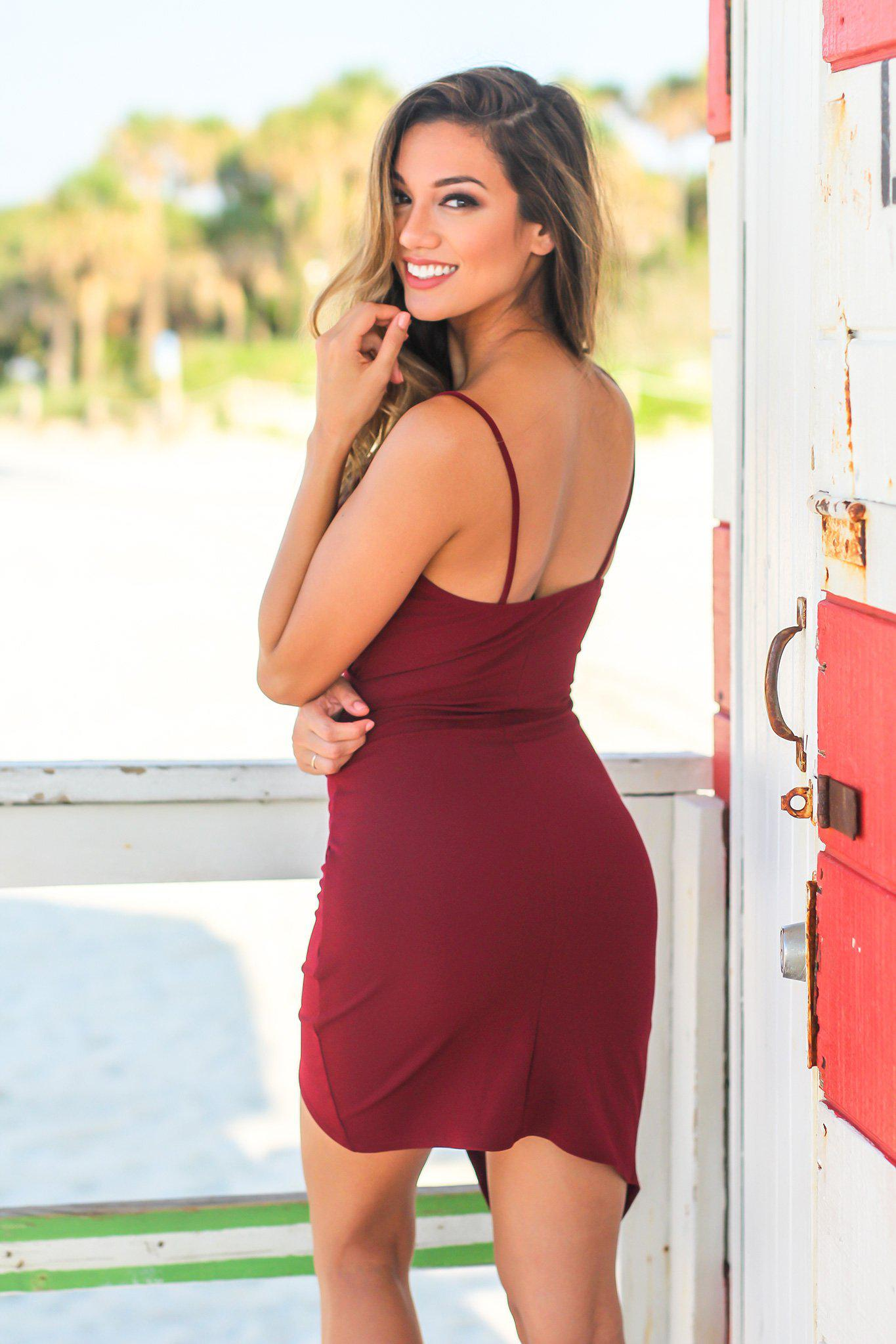Wine Short Dress with Ruched Side