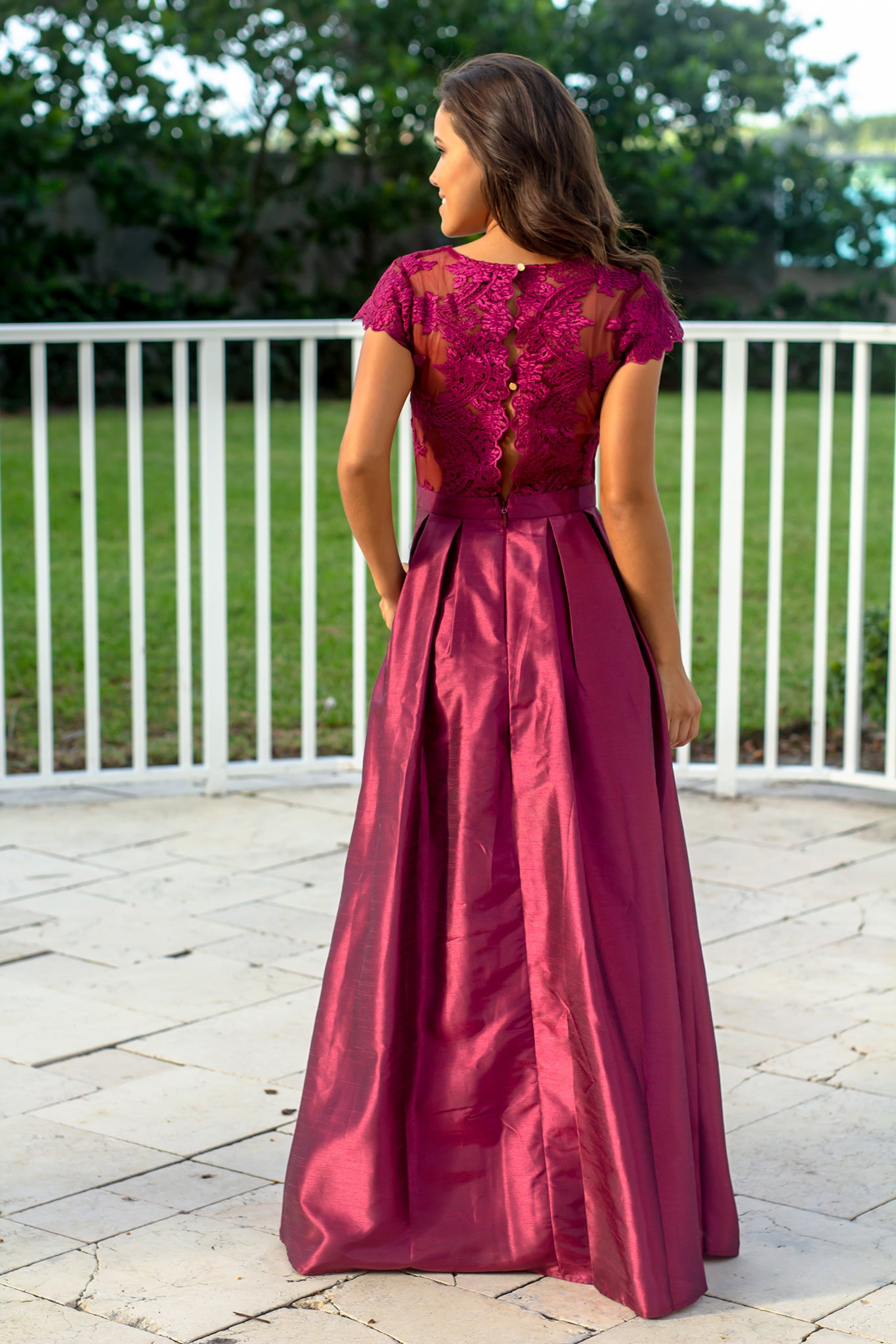 Wine Short Sleeve Maxi Dress with Embroidered Top