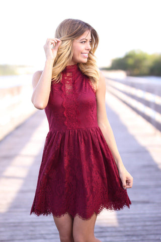 Wine Sleeveless Short Dress with Buttons
