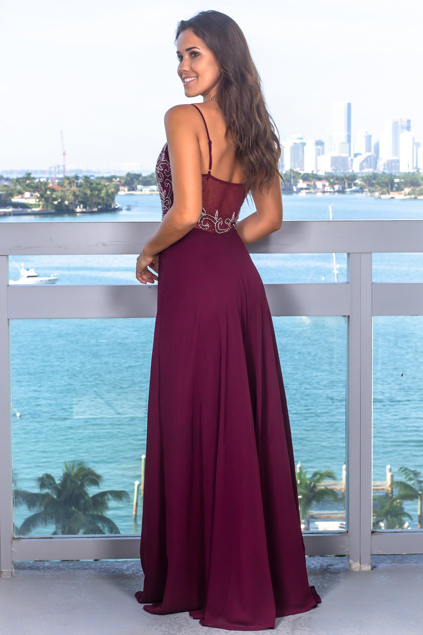 Wine Sleeveless Jeweled Top Maxi Dress with Mesh Back