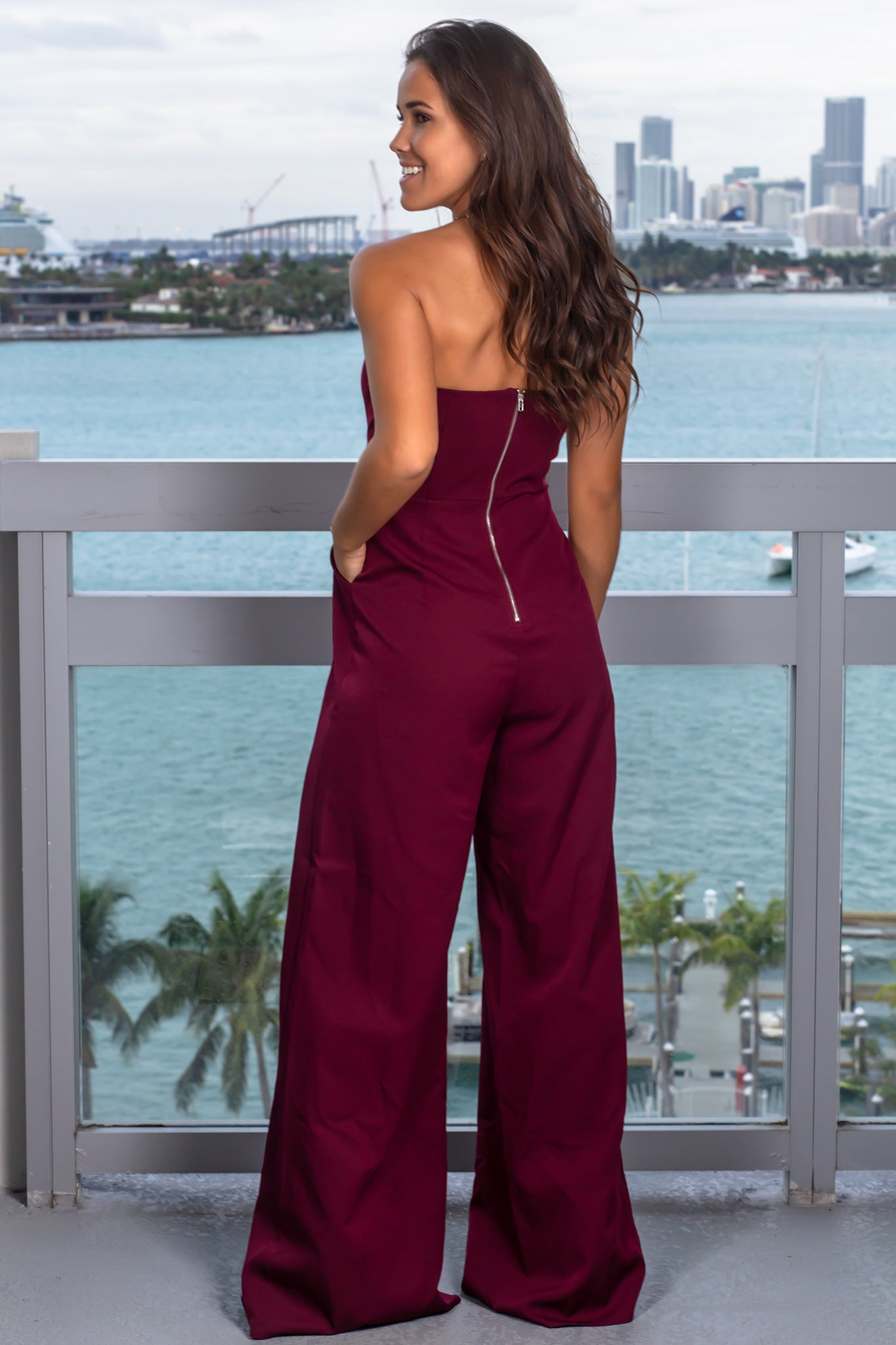 Wine Strapless Jumpsuit with Slits