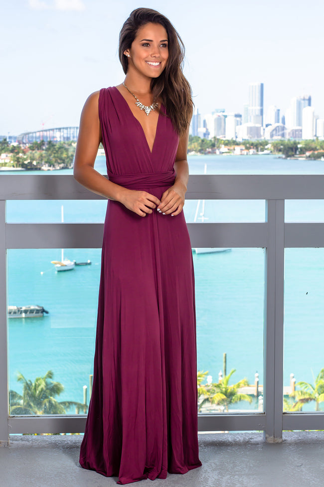 Wine Tie Maxi Dress with Open Back