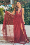 Wine V-Neck Tulle Maxi Dress with Sequin Top