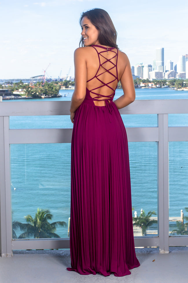 Wine Wrap Dress with Strappy Back