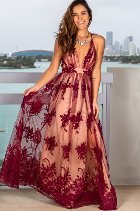Wine and Beige Floral Tulle Maxi Dress with Criss Cross Back
