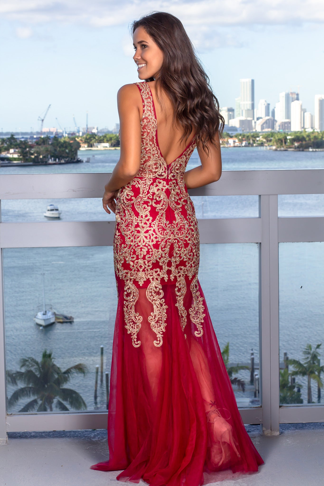 Wine and Gold Lace Maxi Dress with Tulle Detail