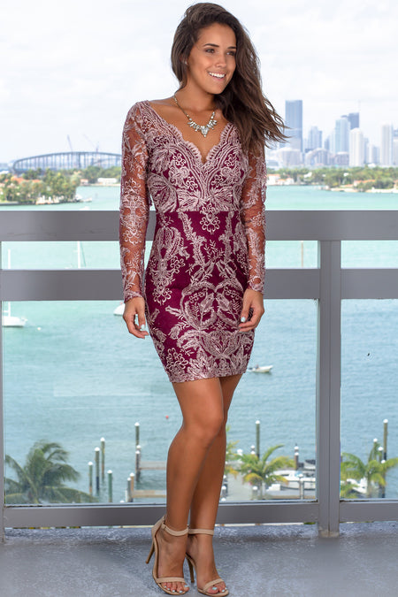Wine and Mauve Short Dress with Long Sleeves